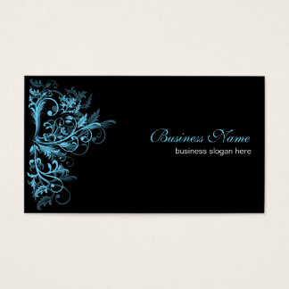 Elegant Retro Tamala Turquoise Flower Swirls Business Card