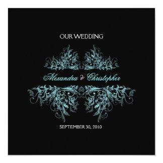 Elegant Retro Turquoise Flower Swirl Wedding 2 Card