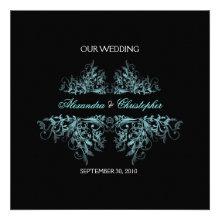 Elegant Retro Turquoise Flower Swirl Wedding 2 Personalized Invite