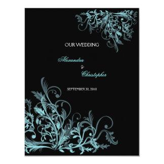 Elegant Retro Turquoise Flower Swirl Wedding Card