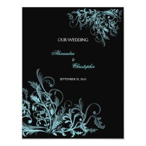 Elegant Retro Turquoise Flower Swirl Wedding 4.25x5.5 Paper Invitation Card