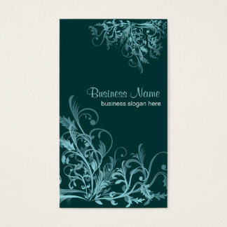 Elegant Retro Turquoise Flower Swirls 4 Business Card