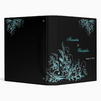 Elegant Retro Turquoise Flower Swirls Album Binder