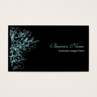 Elegant Retro Turquoise Flower Swirls Business Card
