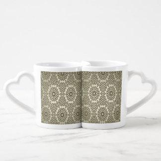 Elegant retro vintage abstract lovers mug set