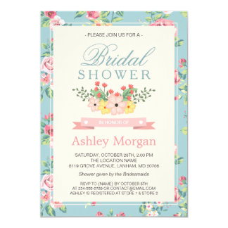 Elegant Retro Vintage Floral Decor Bridal Shower Card