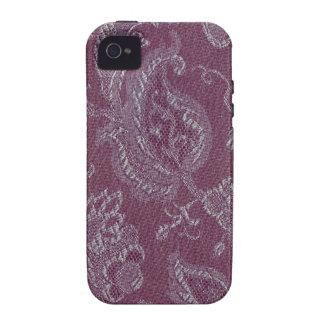 Elegant Retro Vintage Floral Plum Purple Case-Mate iPhone 4 Cases