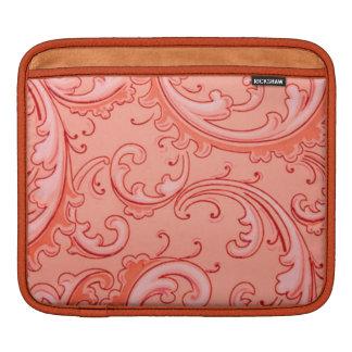 Elegant Retro Vintage Swirls Orange Sherbet Twist Sleeve For iPads
