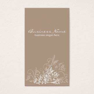 Elegant Retro White Flower Light Brown Business Card