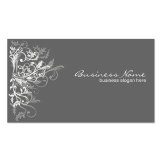 Elegant Retro White Flower Swirls Dark Grey Double-Sided Standard Business Cards (Pack Of 100)