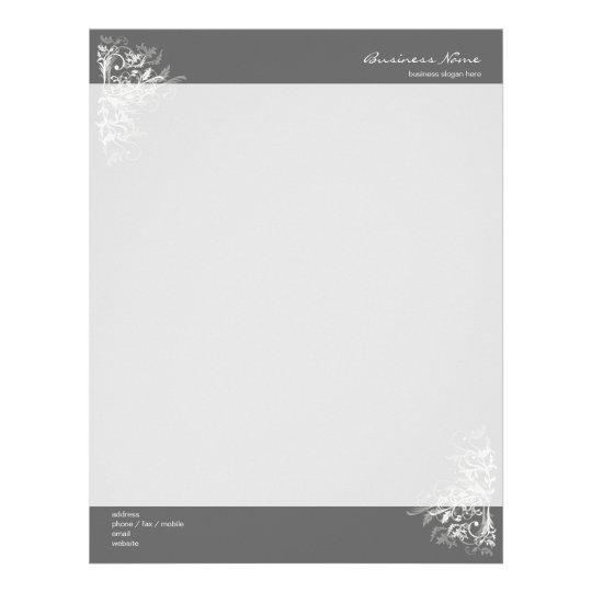 Elegant Retro White Flower Swirls Dark Grey Letterhead