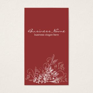 Elegant Retro White Flower Swirls Dark Red Business Card