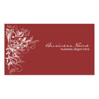 Elegant Retro White Flower Swirls Dark Red Business Card Template