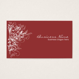 Elegant Retro White Flower Swirls Dark Red Business Card