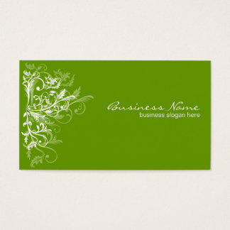 Elegant Retro White Flower Swirls Green Business Card
