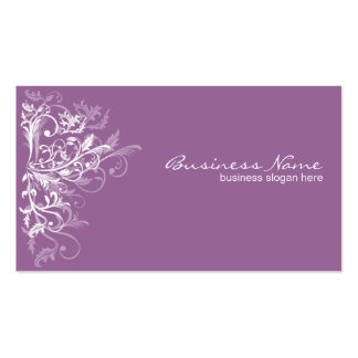Elegant Retro White Flower Swirls Lavender Business Cards