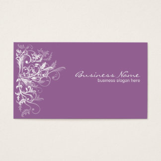 Elegant Retro White Flower Swirls Lavender Business Card