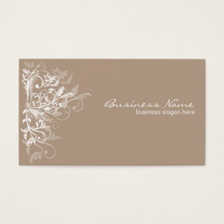 Elegant Retro White Flower Swirls Light Brown Business Card