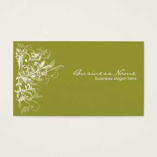Elegant Retro White Flower Swirls Olive Green Business Card