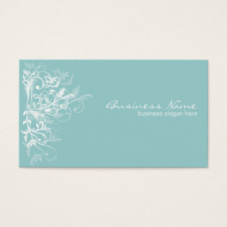 Elegant Retro White Flower Swirls Turquoise Business Card