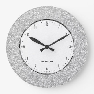 elegant retro white glitter and sparkles large clock - Wall Clocks