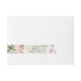 Elegant Return Address Wedding Lavish Roses Floral Wrap Around Address Label