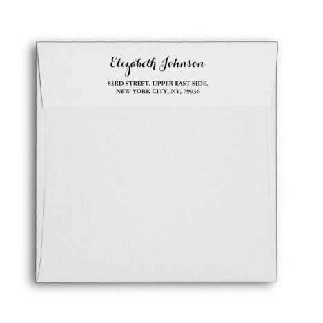 Elegant Return Address White Square Invitation Envelope
