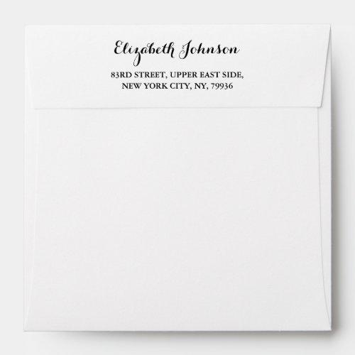 Elegant Return Address White Square Invitation Envelope