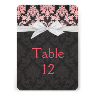 Elegant Ribbon Damask Black Table card