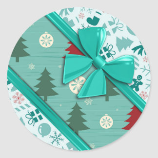 Elegant Ribbons and Christmas Pattern Classic Round Sticker