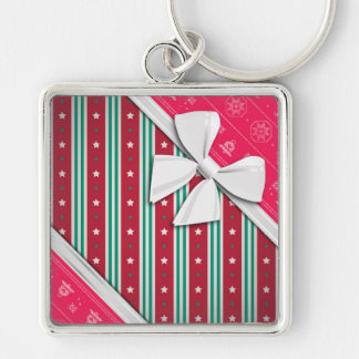 Elegant Ribbons and Christmas Ugly Sweater Keychain