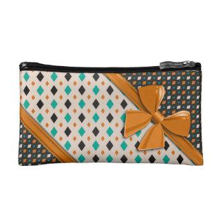 Elegant Ribbons and Diamonds Makeup Bag