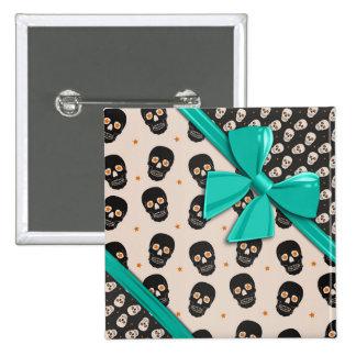 Elegant Ribbons and Skulls Halloween Button