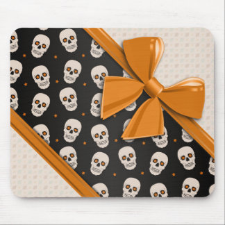 Elegant Ribbons and Skulls Halloween Mouse Pad