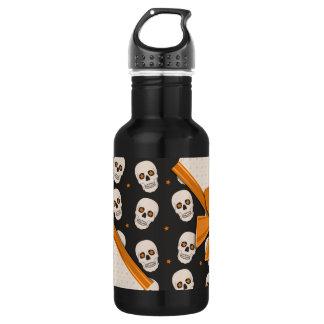 Elegant Ribbons and Skulls Halloween 18oz Water Bottle
