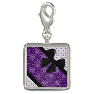 Elegant Ribbons and Spiders Halloween Photo Charm