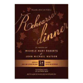Elegant Rich Autumn Leaves Rehearsal Dinner Invite