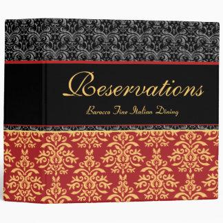Elegant Rich Damask Restaurant Reservation Book 3 Ring Binder