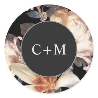 Elegant Rich Moody Floral Monogram Classic Round Sticker