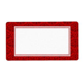 Elegant Rich Red Damask Custom Color Background Label