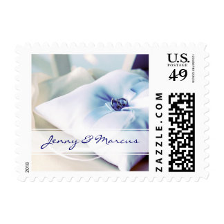 Elegant Ring Pillow Wedding Postage Stamp