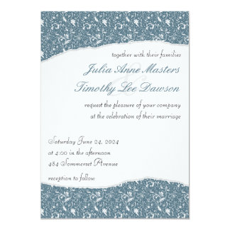 Elegant Ripped Floral Wedding Invitation - Blue