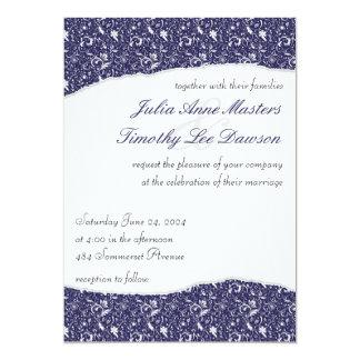 Elegant Ripped Floral Wedding Invitation - Deep Bl