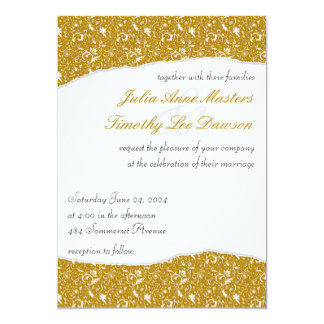 Elegant Ripped Floral Wedding Invitation - Yellow