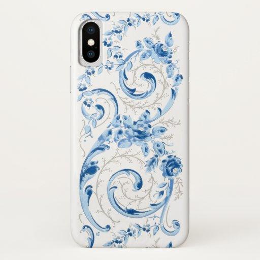 Elegant Romantic Blue and White Baroque Scrolls iPhone X Case