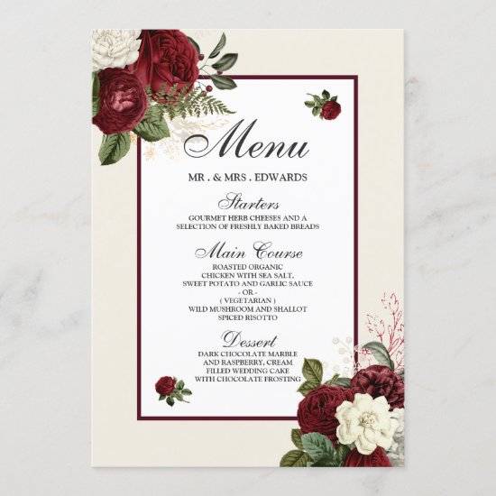 Elegant Romantic Burgundy All Occasions Menu