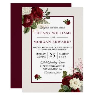 Elegant Romantic Burgundy Floral Wedding Invite