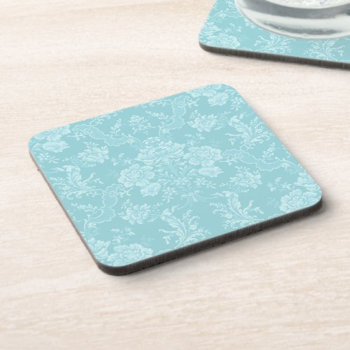Elegant Romantic Chic Floral Damask_Mint Beverage Coaster