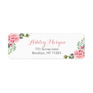 Elegant Romantic Chic Floral Decor Label