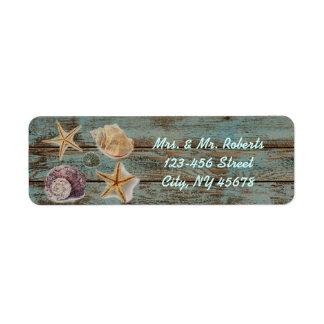elegant romantic cottage seashells beach wedding custom return address labels